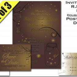Mason Jar Fireflies Wedding Suite Invitation RSVP and Save-the-Date Digital Printable
