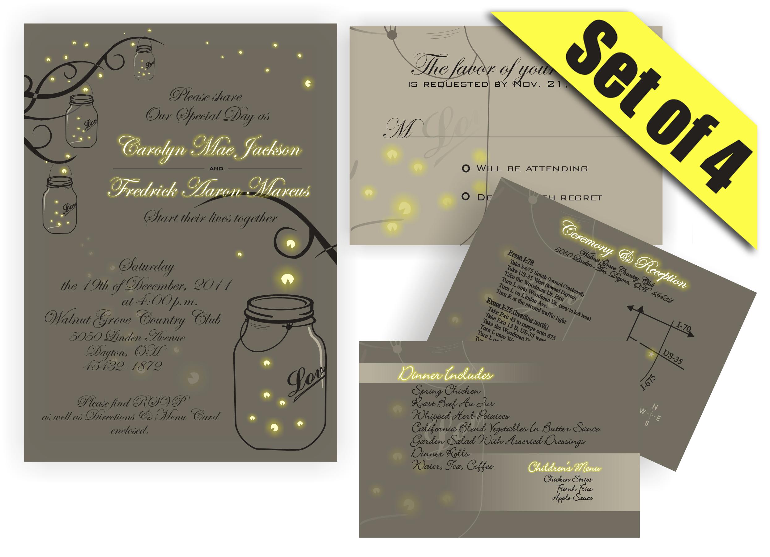 Firefly Mason Jar Wedding Invitations Wedding Invitations – Mason Jar Wedding Invites